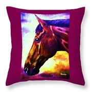 horse portrait PRINCETON wow purples Throw Pillow