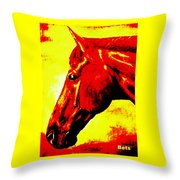 horse portrait PRINCETON yellow and red Throw Pillow