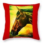 horse portrait PRINCETON yellow Throw Pillow
