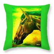 horse portrait PRINCETON yellow green Throw Pillow