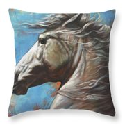 Horse Power Throw Pillow by Harvie Brown