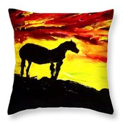 Horse Rider In The Sunset Throw Pillow