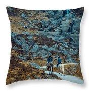 Horse Riders At Mahon Falls Throw Pillow