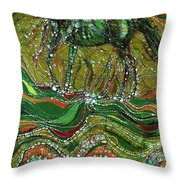 Horse Rises From The Earth Throw Pillow