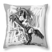Horse Rising High Black And White Throw Pillow by Go Van Kampen
