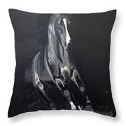 Horse Running Along The Shore Throw Pillow