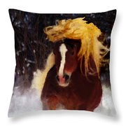 Horse Running In Snow Throw Pillow