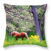 Horse Running In Spring Woods Throw Pillow