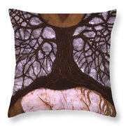 Horse Sleeps Below Tree Of Rebirth Throw Pillow by Carol  Law Conklin