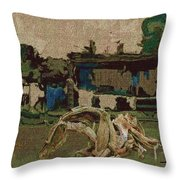 Horse Statue In The Field 1 Throw Pillow