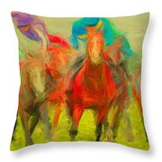 Horse Tracking Throw Pillow