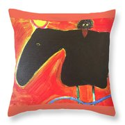 Horse With Crow And Snake At Sunset Throw Pillow