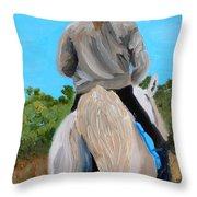 Horseback Ridding Throw Pillow