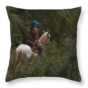 Horseback Riding Kauai Trail Throw Pillow