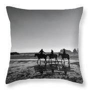 Horseback Storytelling Black And White Throw Pillow