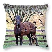 Horsebirds Throw Pillow