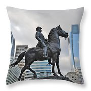 Horseman Between Sky Scrapers Throw Pillow