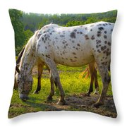 Horses And Buttercups Throw Pillow