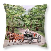 Horses And Wagon Throw Pillow