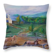 Horses At Gettysburg Throw Pillow