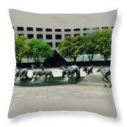 Horses At William Square  Throw Pillow
