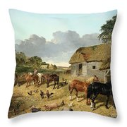 Horses Drinking From A Water Trough, With Pigs And Chickens In A Farmyard Throw Pillow