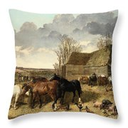 Horses Eating From A Manger, With Pigs And Chickens In A Farmyard Throw Pillow