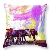 Horses Flock Pasture Animal  Throw Pillow