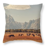 Horses Grazing In Front Of The Teton's Throw Pillow