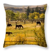 Horses Grazing In The Late Afternoon Throw Pillow