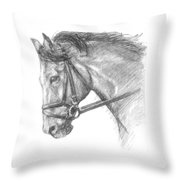 Horse's Head With Bridle Throw Pillow