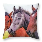 Horses - Id 16217-202746-6154 Throw Pillow