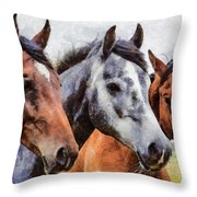 Horses - Id 16217-202754-0357 Throw Pillow