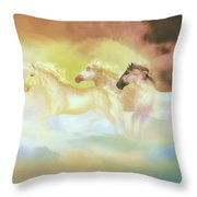 Horses In A Pearly Mist Throw Pillow