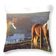 Horses In Autumn Frosty Sunrise Throw Pillow