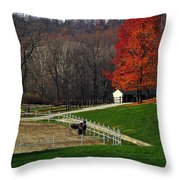 Horses In Autumn Throw Pillow