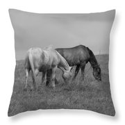 Horses In Bw 2 Throw Pillow