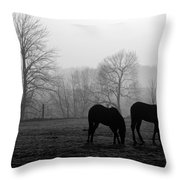 Horses In Field B And W Throw Pillow
