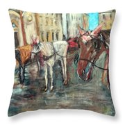 Horses In Florence Throw Pillow