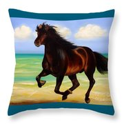 Horses In Paradise  Run Throw Pillow