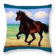 Horses In Paradise  Run Throw Pillow