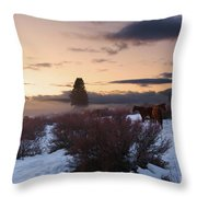 Horses In Snow At Sunset Throw Pillow