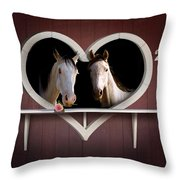 Horses In Stable Throw Pillow