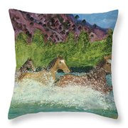 Horses In Stream Throw Pillow