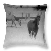 Horses In Summer  Throw Pillow