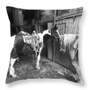 Horses In The Barn Throw Pillow