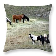 Horses In The Highlands Throw Pillow