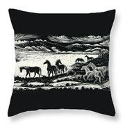 Horses In Winter Throw Pillow