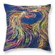 Horses Meet In The Wind Throw Pillow