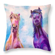 Horses Of A Different Color Throw Pillow